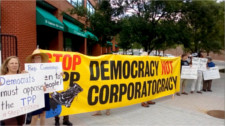 Protesting Obama's bullying on the TPP to the chair of the DNC platform committee
